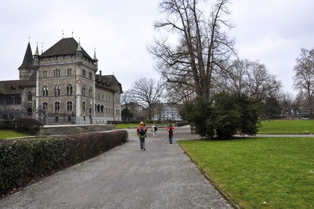 ancient castle in central park of zurich