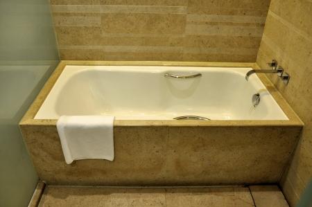 an empty bathroom in a luxury hotel  Stock Photo