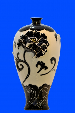 Chinese traditional blue and white porcelain vase isolated