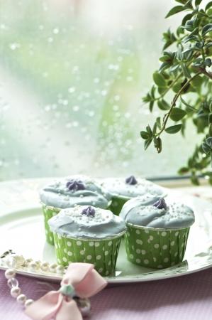 piggish: handmade colorful cup cakes shot in a closeup scene