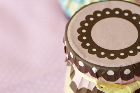 homemade cream caramel shot on pink napkin in macro lens,  Stock Photo