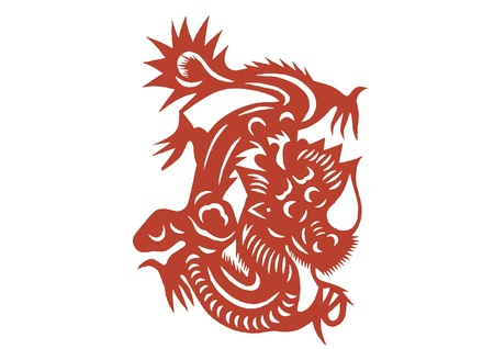 vaus lifelike Chinese Dragon paper cutting, all shapes can be used as symbol or tatoo Stock Vector - 16189472