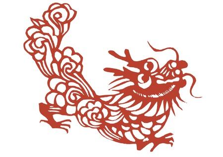 다양한 살아있는 중국 용 종이 절단, 모든 모양은 기호 나 문신으로 사용할 수 있습니다