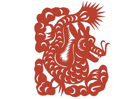 vaus lifelike Chinese Dragon paper cutting, all shapes can be used as symbol or tatoo Stock Vector - 16189474
