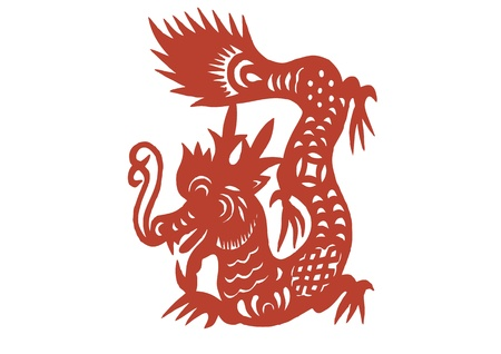 vaus lifelike Chinese Dragon paper cutting, all shapes can be used as symbol or tatoo Stock Vector - 16189471