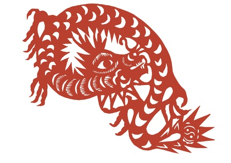 Vector of various lifelike Chinese Dragon paper cutting, all shapes can be used as symbol or tatoo Vector