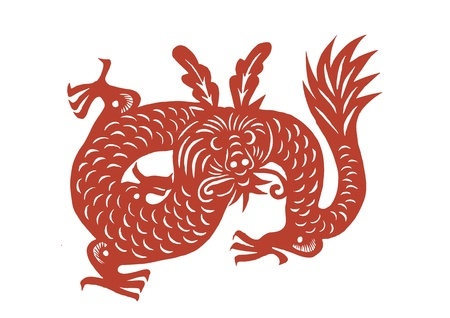 Vector of vaus lifelike Chinese Dragon paper cutting, all shapes can be used as symbol or tatoo Stock Vector - 16296776