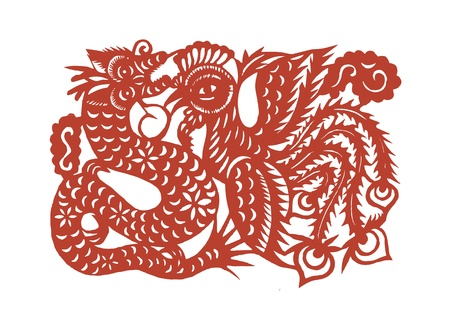 propitious: Vector of various lifelike Chinese Dragon paper cutting, all shapes can be used as symbol or tatoo Illustration