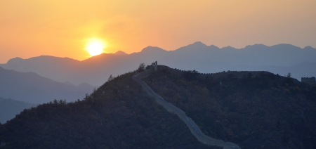great wall of China in sunset scene