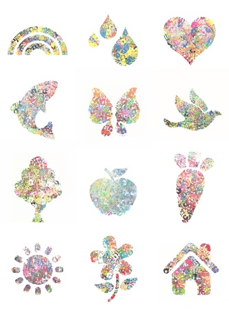 pink dolphin: Handprint painting collection, with mulit colores and shapes. Stock Photo