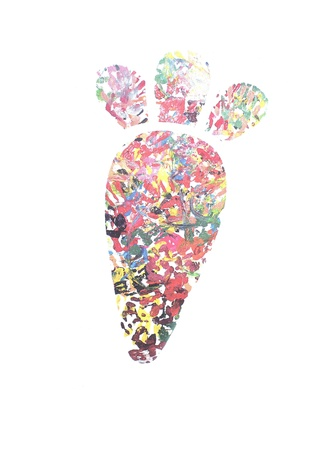 Handprint painting collection, with mulit colores and shapes. Stock Photo