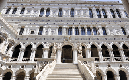 exterior of Doges palace in Venice Italy Editorial