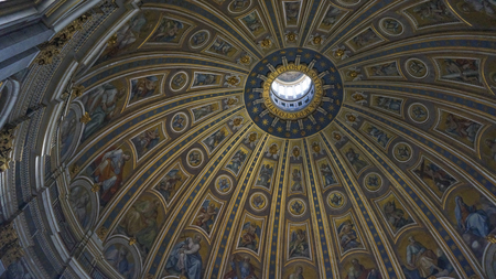 Internal of St. Peters Basilica and great dome, Rome Italy