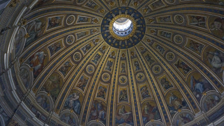 Internal of St. Peter's Basilica and great dome, Rome Italy