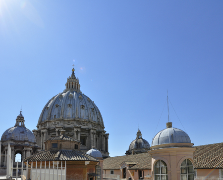 Panorama View of St. Peters Basilica from St. Angels castle, Rome Italy Editorial