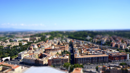 Panorama view of St. Peter's Basilica square and Rome city, Rome Italy