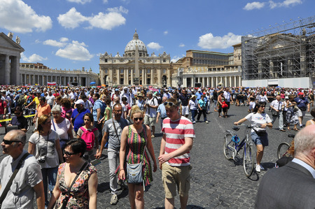 Panorama view of St. Peters Basilica square and Rome city, Rome Italy