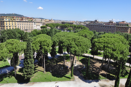 Panorama view of Vatican city, seeing from top of St. Peter Church Stock Photo