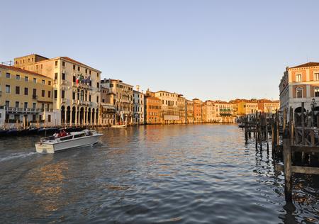 Canal scene from bridge of Rialto in Venice Italy.
