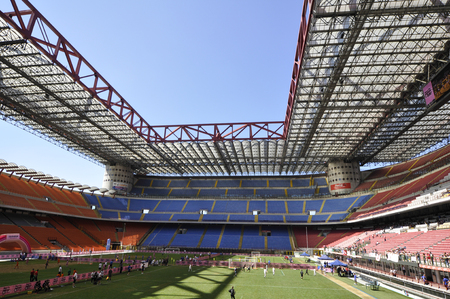 Milan San siro stadium in a wide angle lens, one of most famous football stadium in the world. Editorial