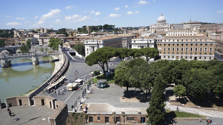 St. Peters Basilica square and Rome city, Rome Italy Editorial