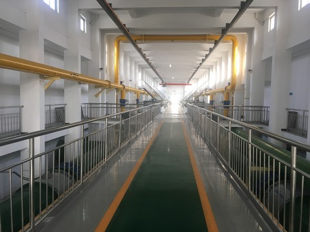 Internal view of pipeline collection of a factory inside a waste water treatment plant