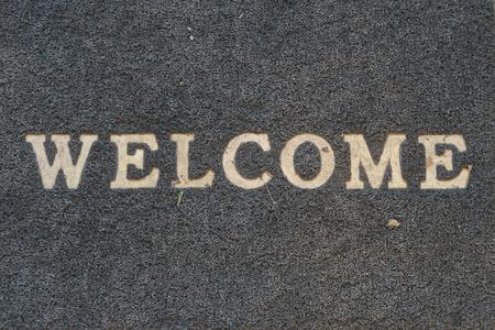 Black welcome carpet Stock Photo