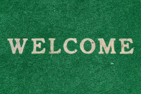 furnishings: Black welcome carpet Stock Photo