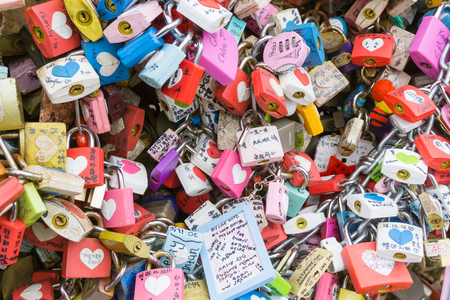 SEOUL, SOUTH KOREA - DECEMBER 12 -  Love padlocks at N Seoul Tower December 12 ,2016 in Seoul City, Korea. People Believe That Their Love Will Be Lock Together With This Padlock at N Seoul Tower