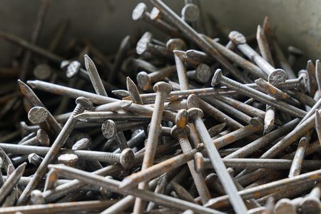 rusty nail: Background of iron nails