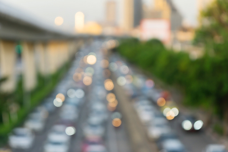 Background of blur traffic jam on the road in Bangkok, Thailand. Stock Photo