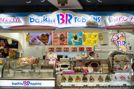 SAPPORO - JAPAN - APRIL 2 2018 - Baskin robbins ice-cream shop store in new Chitose Airport for tourist buy to eat when wait travel Hokkaido, Japan on April 2, 2018.