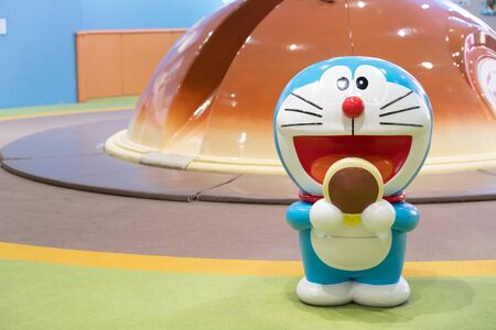 SAPPORO - JAPAN - MARCH 30 2018 - Doraemon model standing in the new chitose airport Hokkaido, Japan.