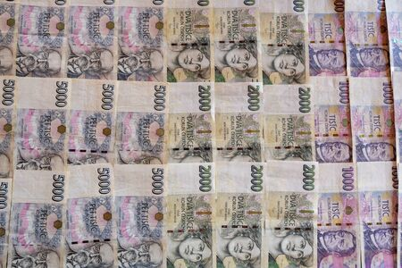 Czech Koruna banknotes (CZK) 1000 2000 5000, currency of Czech Republic