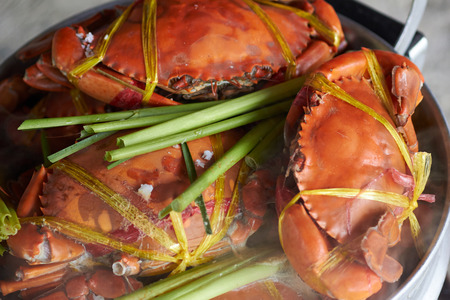 crab pots: Steamed giant sea crab in pot.