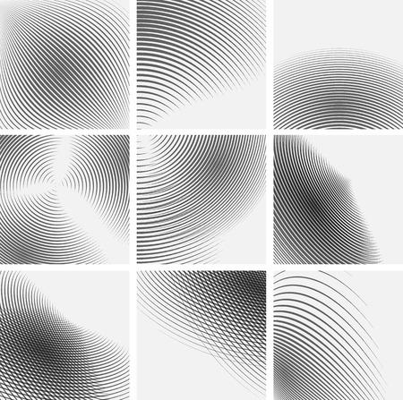 abstracte vormen: Set van gestreepte abstracte vormen. Vector illustratie.