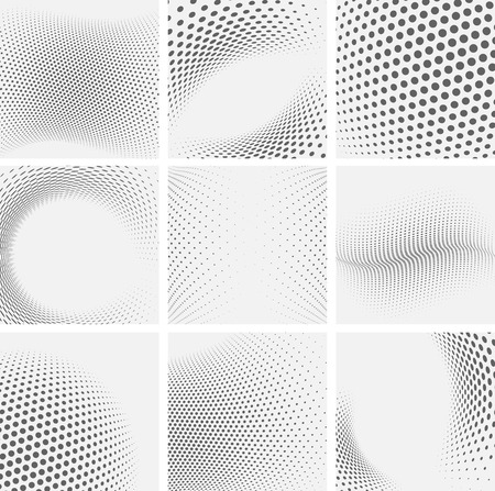 Set of dotted abstract forms. Vector illustration. Vettoriali