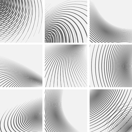 Set of striped abstract forms. Vector illustration.
