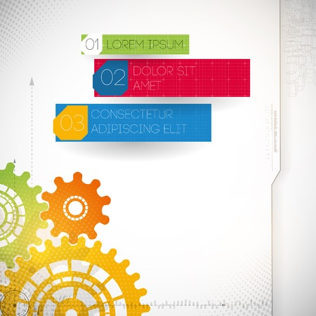Colorful gears on gray background