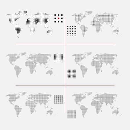 Sada tečkované světových map v různých rozlišení