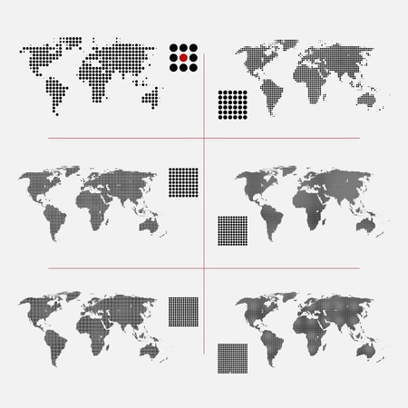 Set of dotted world maps in different resolution