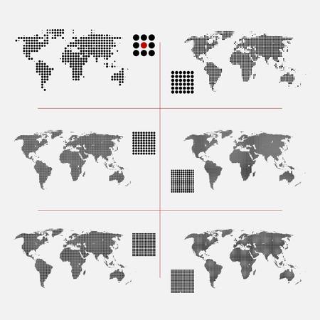 Set van gestippelde wereld kaarten in verschillende resolutie