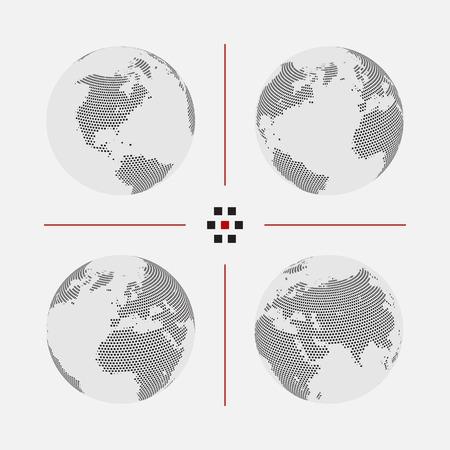 Set van gestippelde wereldkaarten in verschillende resolutie
