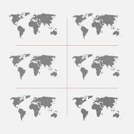 Set of striped world maps in different resolution Ilustrace