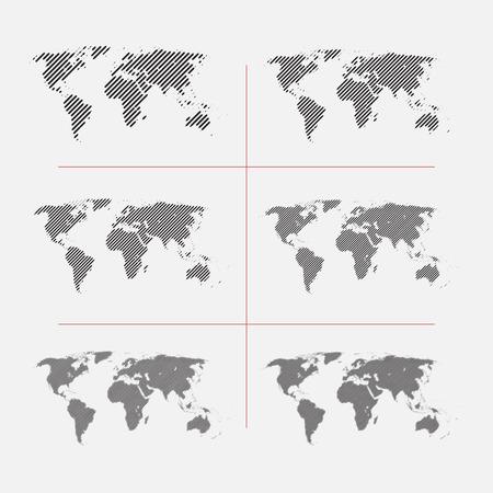 Set van gestreepte wereldkaarten in verschillende resolutie