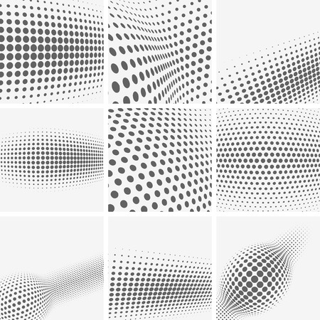 abstracte vormen: Set of dotted abstract forms. Vector illustration. Stock Illustratie
