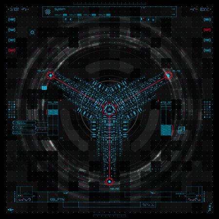 Futuristic graphic user interface vector illustration Illustration
