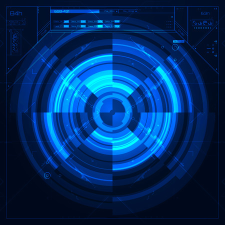 hightech: Futuristic graphic user interface. Illustration in blue color.