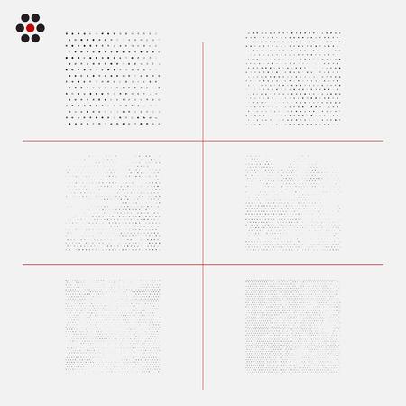 halftone pattern: Set of distressed halftone textures.  illustration. Illustration