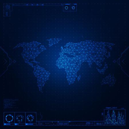 global communication: Polygonal world map. Global communication. Vector illustration.